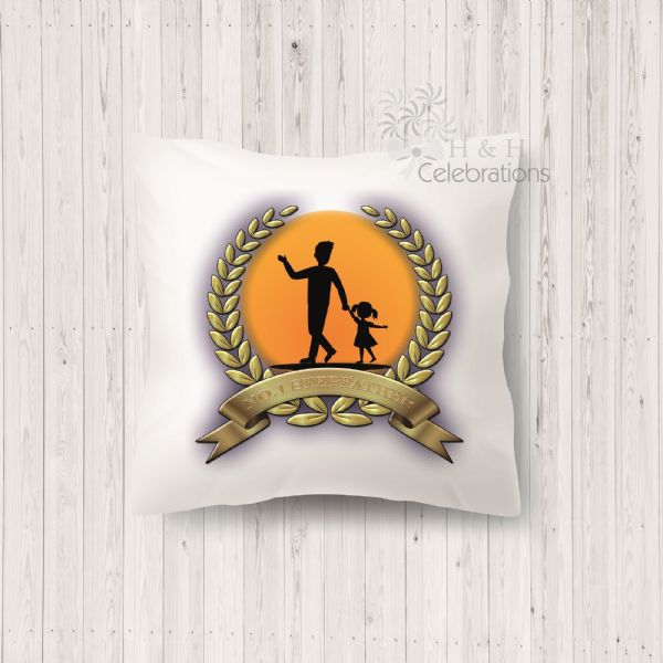 No 1 Stepfather And Daughter Laurel Silhouette Personalised Cushion